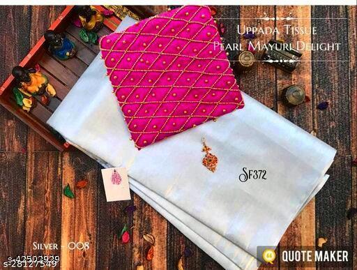 Aayansh Fashion Industries Party Wear Zari Woven Upada Silk Saree Embroidery Blouse With Stone Work