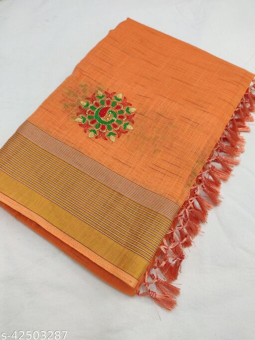 R K Maniyar Women's Special Pure Cotton Silk Saree With Contrast Embroidery Work With Jalar.