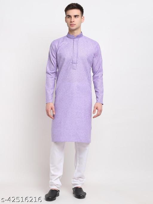 Jompers Men Light-purple Self Design Kurta with Pyjamas