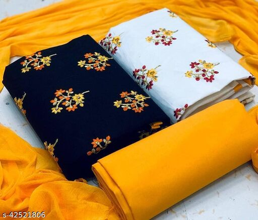 TWO TOP Semi Modal with Full Embroidery Fancy Work Dress Material
