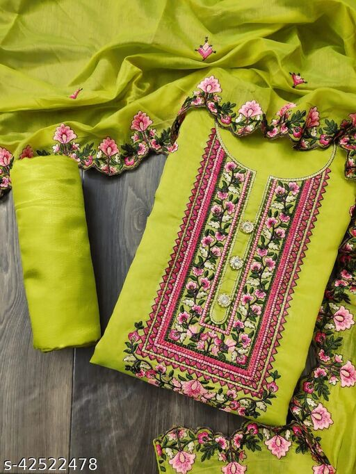 Semi Modal with Embroidery Work Dress Material