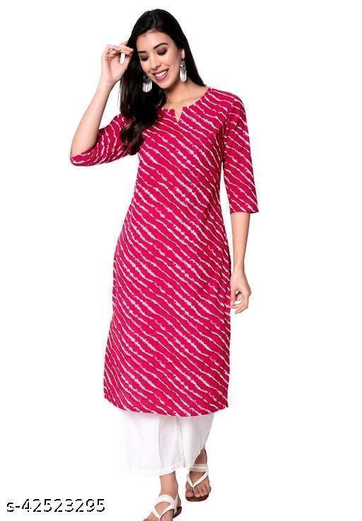 Siddhik Women's Cotton Regular Kurti -(Pink)