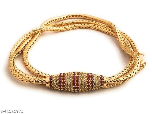 DFJ American Diamond Micro Gold Mugappu Chain for Women and Girls