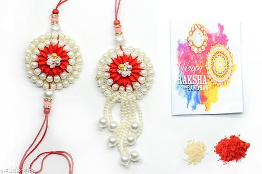 Premium Handmade Luxury Rakhi Gifts for Bhabhi and Bhaiya with Rakshabandhan Special Card and Roli Chawal Best Wishes Greeting Card(pack of 1 pair)