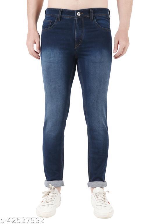 Urban Pendu Men's Regular Fit Blue Mid Rise Clean Look Denim Jeans