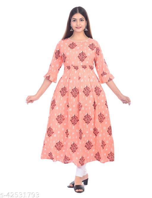 SKARLEY Cotton Blend A-Line One Piece Dress For Women/Girls/Ladies (Peach)