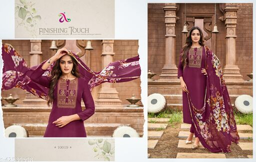 Aayansh Fashion Industries Party Festival & Casual Wear Women Solid Salwar Suits & Dress Material (Unstitched) Fabrics: Chanderi Silk Embroidered Work Dress Material