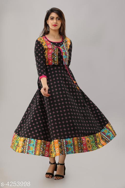 Women's Embroidered Black Cotton Kurti
