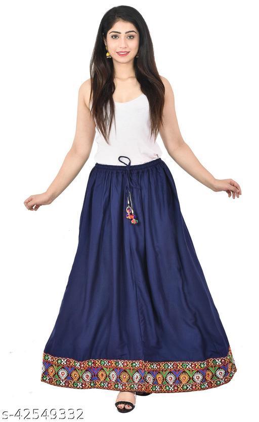 Stylish Glamarous Solid Jaipuri Long Maxi Floor Length Flair Rayon Skirt for Women's ( Free Size )