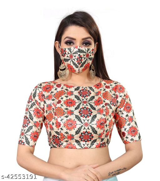 Elegant Printed Blouse With Matching Mask For Women