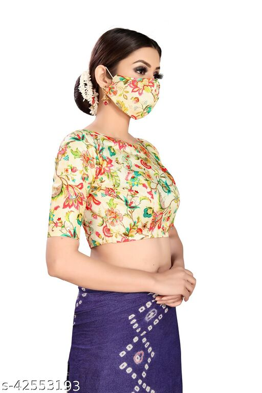 Fabulous Printed Blouse With Matching Mask For Women