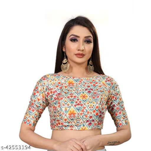 Fashionista Printed Blouse With Matching Mask For Women