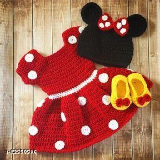 Red Minni Mouse Crochet Frock for Kids