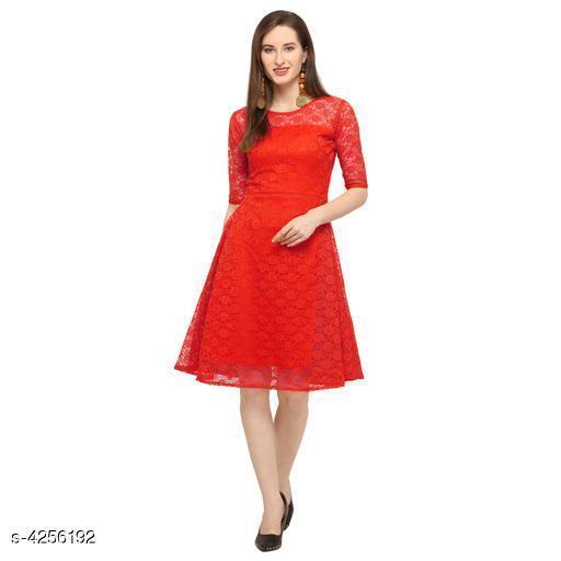 Lace Red Knee length Net Dress