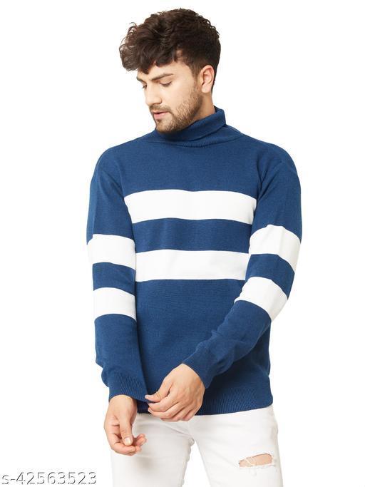 Kvetoo Men Turtle High Neck Full Sleeve Woolen Winter Sweater Indigo White