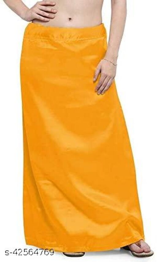 Women's Satin Undercoat Adjustable Waist Sari Skirt Indian Readymade Petticoats. Dark Yellow