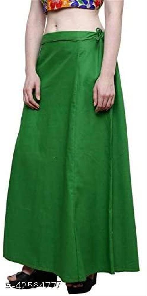 Women's Cotton Saree Underskirt Sari Underwear Best Plain Solid Indian Stitched Saree Petticoats (Green, 40)