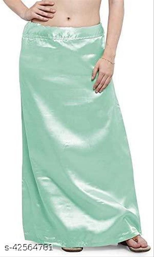 Women's Satin Undercoat Adjustable Waist Sari Skirt Indian Readymade Petticoats (Turquoise Green, 40W x 38L)