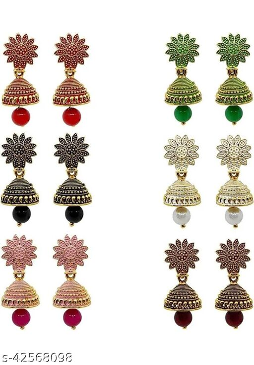 Maddy Space Elite combo of 6 small jhumkis  .