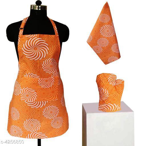 Aprons Beautiful Elegant Cotton Kitchen Aprons & Mittens   *Material* Cotton  *Size ( L X W ) * Apron - 24 in  X 32 in,Kitchen Towel -  18 in X28 in,Oven Mitten  *Description* It Has 1 Piece Of Kitchen Apron, 1 Piece Of Kitchen Towel & 1 Piece Of Oven Mitten  * Work* Printed  *Sizes Available* Free Size *    Catalog Name: Beautiful Elegant Cotton Kitchen Aprons & Mittens Vol 7 CatalogID_609366 C129-SC1633 Code: 673-4256850-