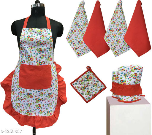 Aprons Beautiful Elegant Cotton Kitchen Aprons & Mitten  *Material* Cotton  *Size ( L X W ) * Apron - 33 in  X 25 in,Kitchen Towel -  16 in x 22 in,Oven Mitten  *Description* It Has 1 Piece Of Kitchen Apron, 1 Piece Of Kitchen Towel & 1 Piece Of Oven Mitten  * Work* Printed  *Sizes Available* Free Size *    Catalog Name: Beautiful Elegant Cotton Kitchen Aprons & Mittens Vol 7 CatalogID_609368 C129-SC1633 Code: 996-4256857-