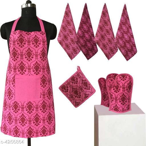 Aprons Beautiful Elegant Cotton Kitchen Aprons & Mitten  *Material* Cotton  *Size ( L X W ) * Apron - 33 in  X 25 in,Kitchen Towel -  16 in x 22 in,Oven Mitten  *Description* It Has 1 Piece Of Kitchen Apron, 1 Piece Of Kitchen Towel & 1 Piece Of Oven Mitten  * Work* Printed  *Sizes Available* Free Size *    Catalog Name: Beautiful Elegant Cotton Kitchen Aprons & Mittens Vol 7 CatalogID_609369 C129-SC1633 Code: 309-4256864-
