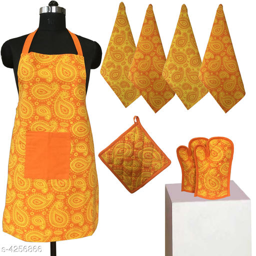 Aprons Beautiful Elegant Cotton Kitchen Aprons & Mitten  *Material* Cotton  *Size ( L X W ) * Apron - 33 in  X 25 in,Kitchen Towel -  16 in x 22 in,Oven Mitten  *Description* It Has 1 Piece Of Kitchen Apron, 1 Piece Of Kitchen Towel & 1 Piece Of Oven Mitten  * Work* Printed  *Sizes Available* Free Size *    Catalog Name: Beautiful Elegant Cotton Kitchen Aprons & Mittens Vol 7 CatalogID_609369 C129-SC1633 Code: 348-4256866-