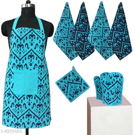 Aprons Beautiful Elegant Cotton Kitchen Aprons & Mitten  *Material* Cotton  *Size ( L X W ) * Apron - 33 in  X 25 in,Kitchen Towel -  16 in x 22 in,Oven Mitten  *Description* It Has 1 Piece Of Kitchen Apron, 1 Piece Of Kitchen Towel & 1 Piece Of Oven Mitten  * Work* Printed  *Sizes Available* Free Size *    Catalog Name: Beautiful Elegant Cotton Kitchen Aprons & Mittens Vol 7 CatalogID_609369 Code: 309-4256868-