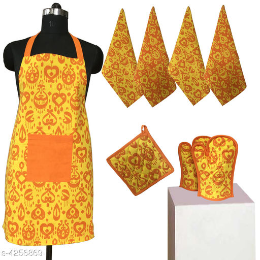 Aprons Beautiful Elegant Cotton Kitchen Aprons & Mitten  *Material* Cotton  *Size ( L X W ) * Apron - 33 in  X 25 in,Kitchen Towel -  16 in x 22 in,Oven Mitten  *Description* It Has 1 Piece Of Kitchen Apron, 1 Piece Of Kitchen Towel & 1 Piece Of Oven Mitten  * Work* Printed  *Sizes Available* Free Size *    Catalog Name: Beautiful Elegant Cotton Kitchen Aprons & Mittens Vol 7 CatalogID_609369 C129-SC1633 Code: 348-4256869-