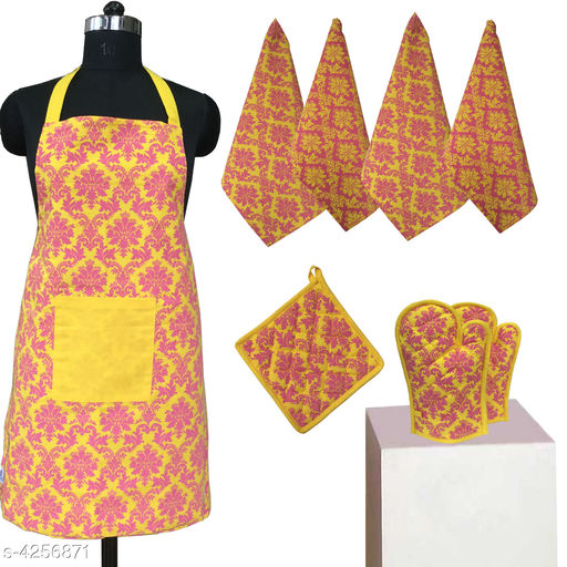 Aprons Beautiful Elegant Cotton Kitchen Aprons & Mitten  *Material* Cotton  *Size ( L X W ) * Apron - 33 in  X 25 in,Kitchen Towel -  16 in x 22 in,Oven Mitten  *Description* It Has 1 Piece Of Kitchen Apron, 1 Piece Of Kitchen Towel & 1 Piece Of Oven Mitten  * Work* Printed  *Sizes Available* Free Size *    Catalog Name: Beautiful Elegant Cotton Kitchen Aprons & Mittens Vol 7 CatalogID_609369 C129-SC1633 Code: 318-4256871-