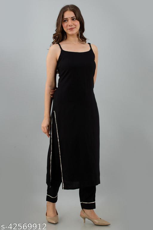 Attractive Black Kurti With Pant Set Of Rayon