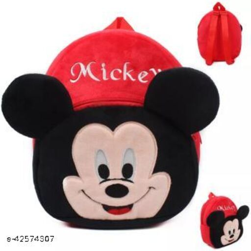 Trived Mickey Combo Velvet Soft Plus Kidds School Bag Nursury class to 5 ( Size - 14 inch ) (color - Red )