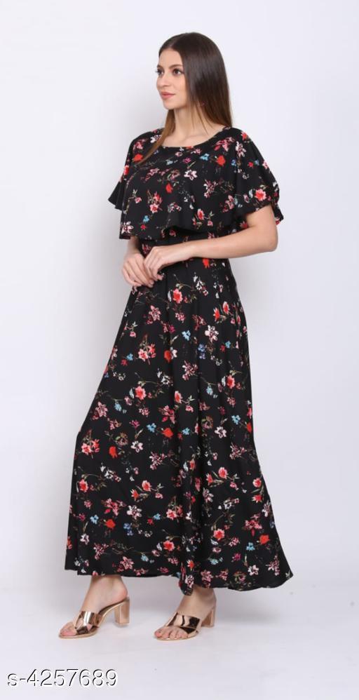 Women's Printed Black Crepe Dress