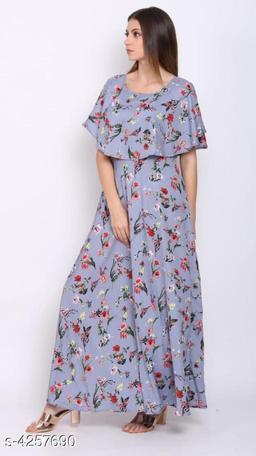 Women's Printed Grey Crepe Dress