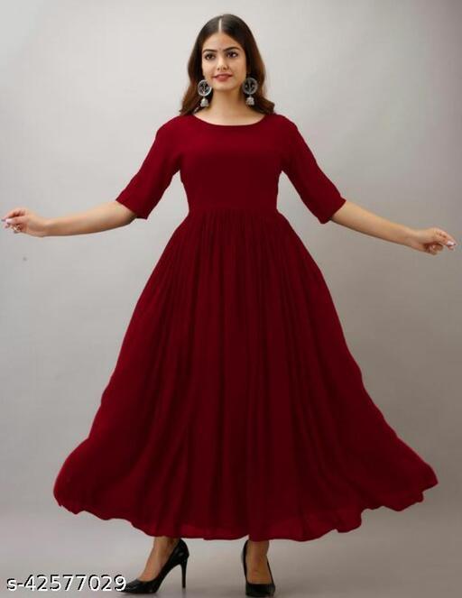 Festive Plain Rayon Flared Long Anarkali Kurtas for Women and Girls