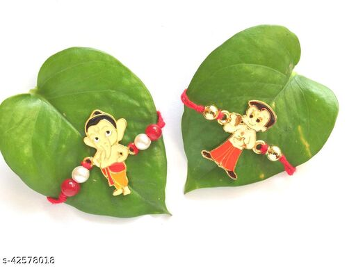 Kids Favourite Chotabhim and Bal Ganesh rakhi with Roli Chawal Tilak Pack (set of 2 pc)