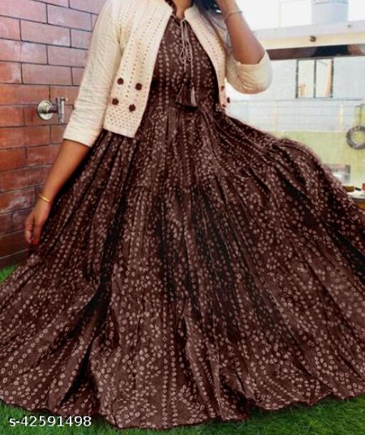 100% Cotton Bandhani Printed Sleeveless Flared Kurta & Embroidered Jacket with tassels