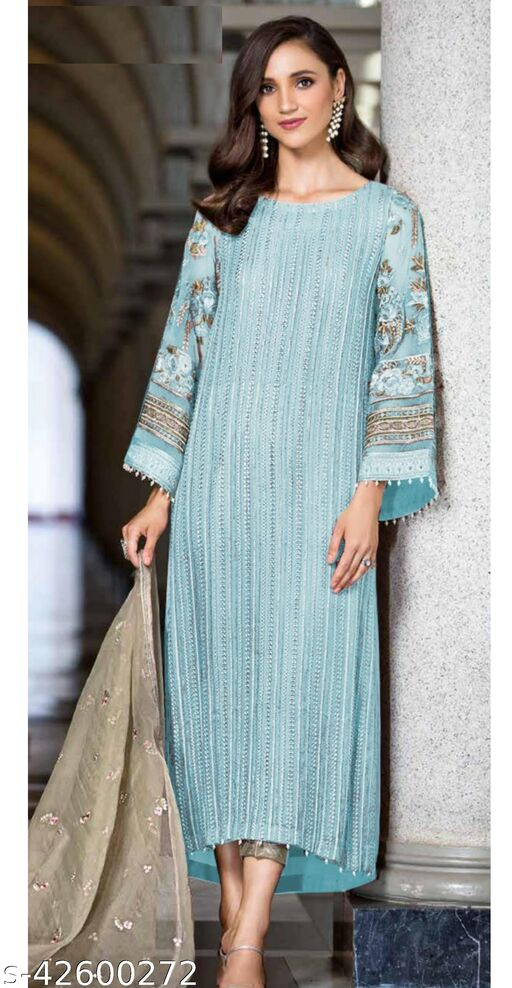 Fashion Mantra Cyan Color Heavy Embroidery Semi-Stitched Suit
