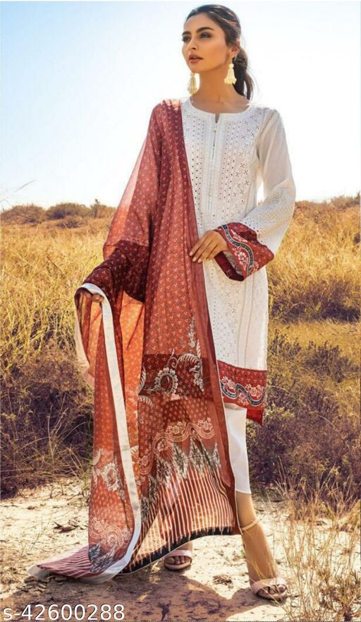 Fashion Mantra White Color Heavy Embroidery Semi-Stitched Suit