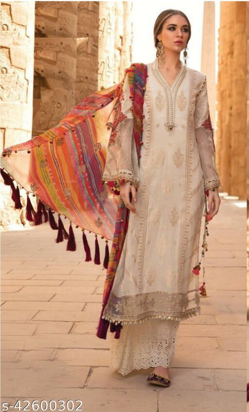 Fashion Mantra Peach Color Heavy Embroidery Semi-Stitched Suit