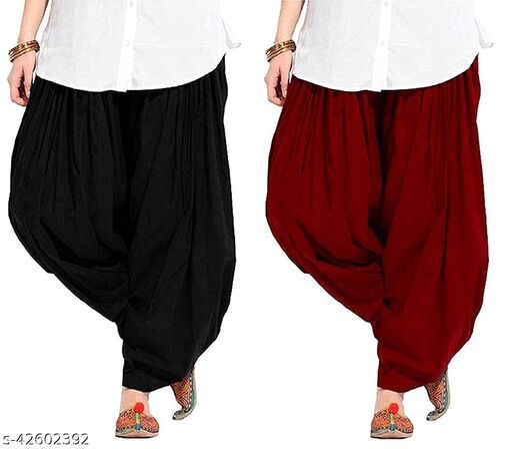 KriSo Women's Cotton Patiala Salwar Free Size Black Maroon Colour