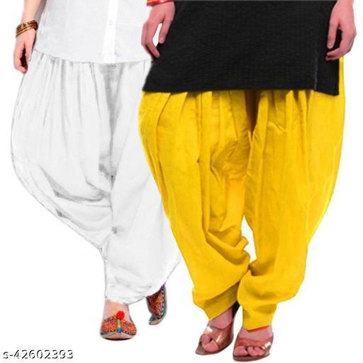 KriSo Women's Cotton Patiala Salwar Free Size Yellow White Colour