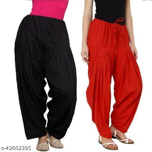 KriSo Women's Cotton Patiala Salwar Free Size Red Black Colour