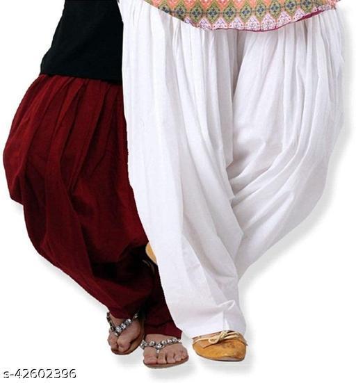 KriSo Women's Cotton Patiala Salwar Free Size White Maroon Colour