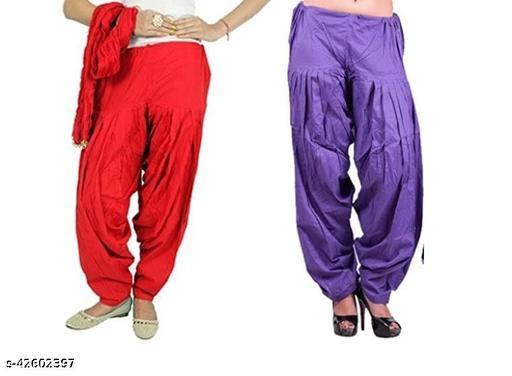 KriSo Women's Cotton Patiala Salwar Free Size Red Voilet Colour