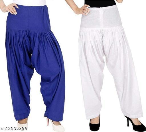 KriSo Women's Cotton Patiala Salwar Free Size White Blue Colour