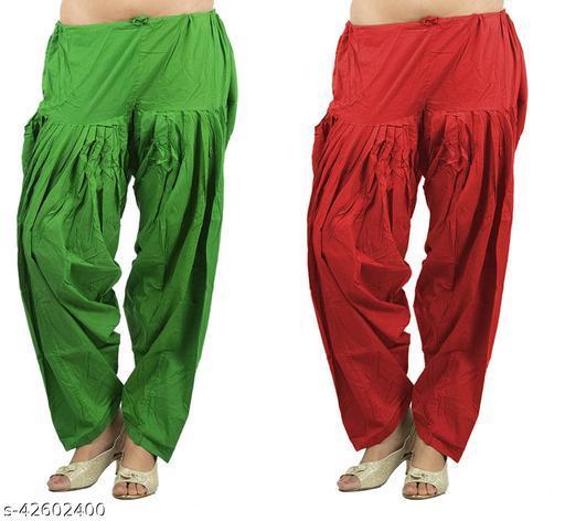 KriSo Women's Cotton Patiala Salwar Free Size Red Green Colour