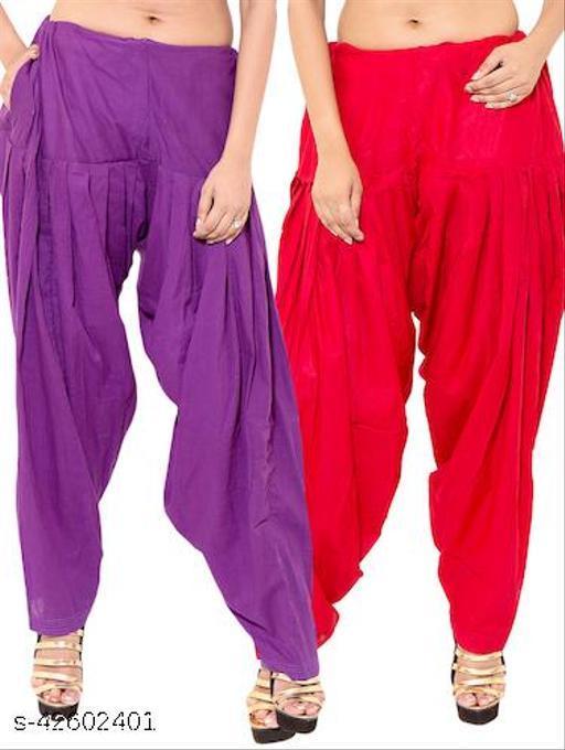 KriSo Women's Cotton Patiala Salwar Free Size Purple Red Colour