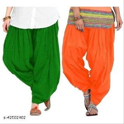 KriSo Women's Cotton Patiala Salwar Free Size Orange Green Colour