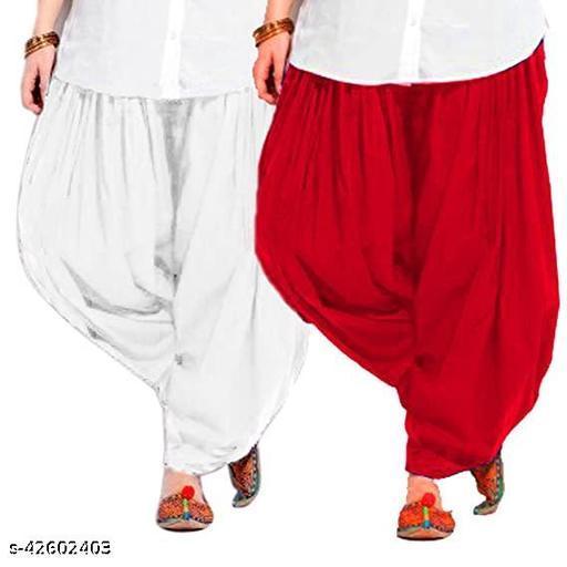 KriSo Women's Cotton Patiala Salwar Free Size Red White Colour